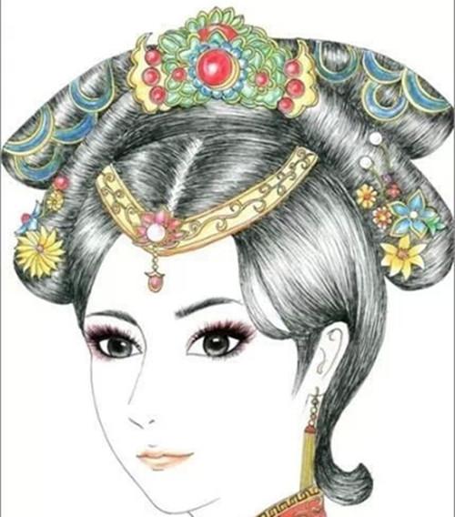 唐朝女子垂髻手绘